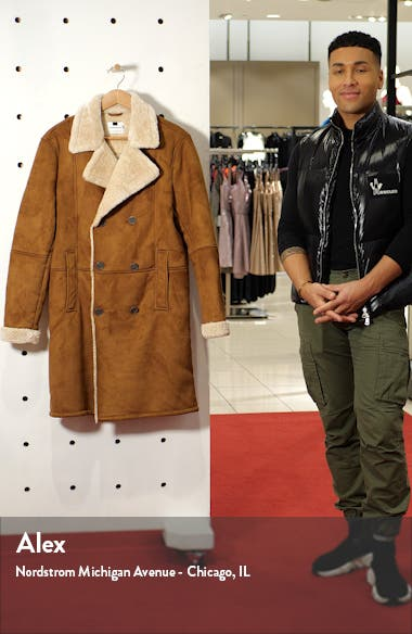 Classic Fit Longline Faux Shearling Coat, sales video thumbnail