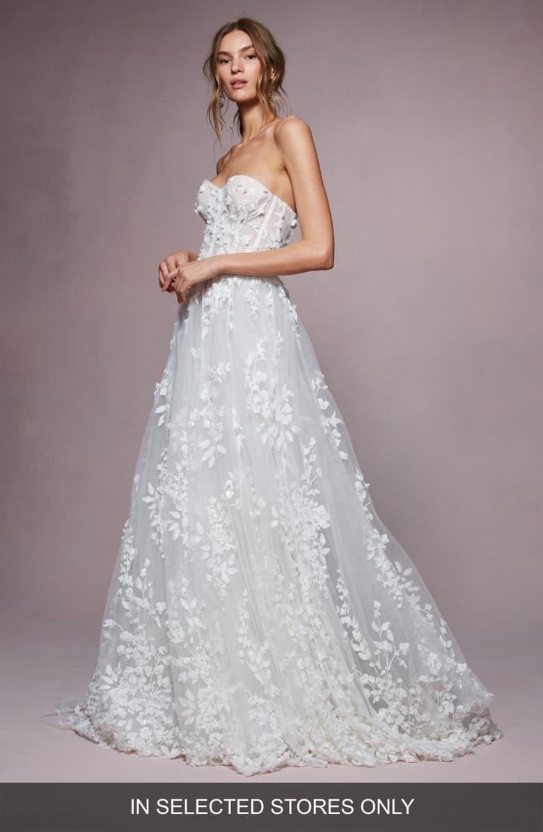 Marchesa Notte Bailey 3d Floral Strapless A Line Wedding Dress