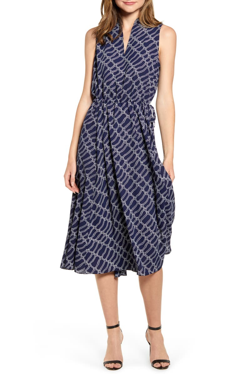 ANNE KLEIN Rope Print Drawstring Midi Dress, Main, color, ECLIPSE/ ANNE WHITE