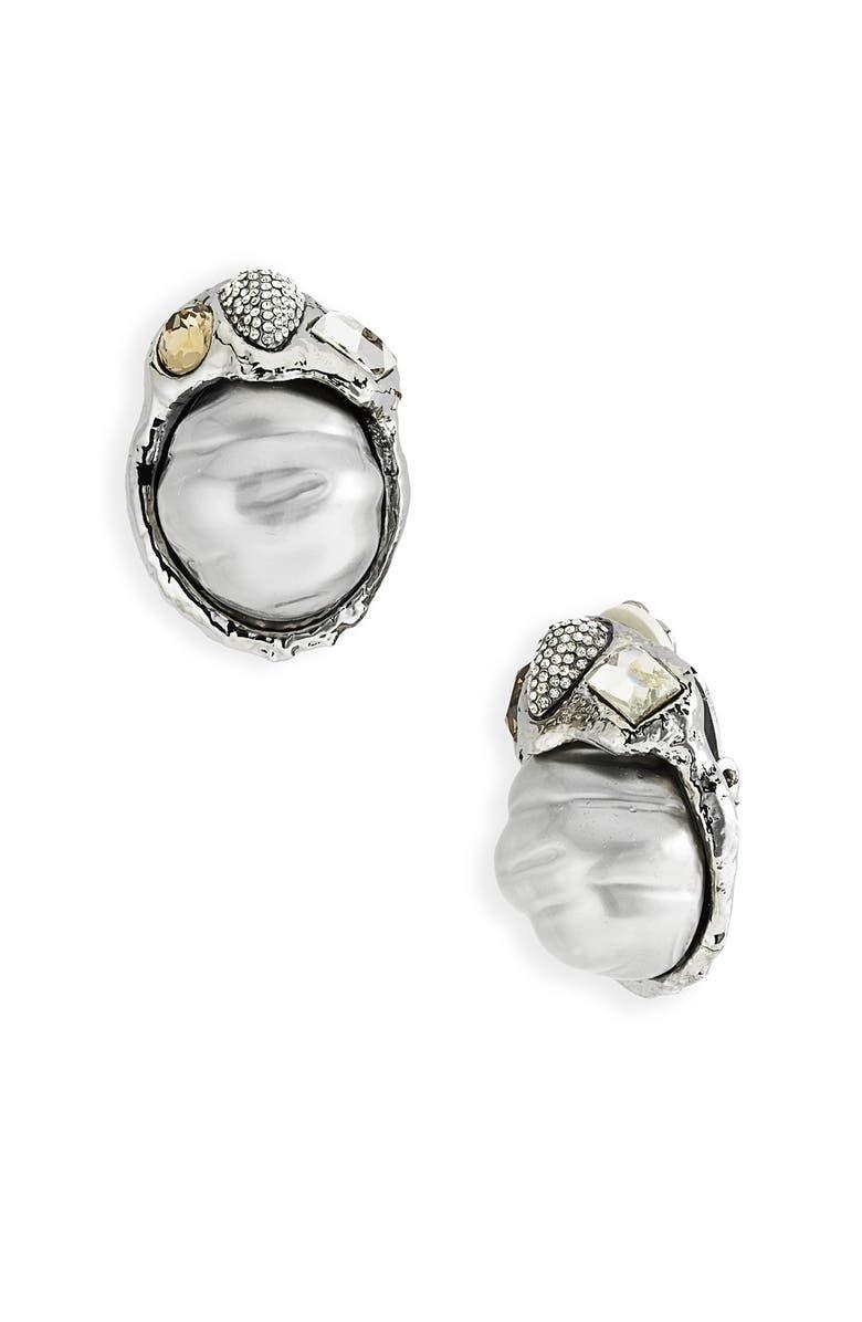 ALEXIS BITTAR 'Alexandria' Baroque Shell Pearl Clip Earrings, Main, color, 020