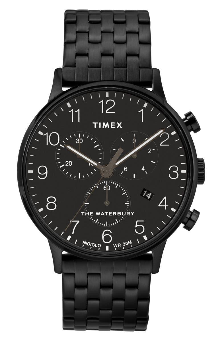 TIMEX<SUP>®</SUP> Waterbury Chronograph Bracelet Watch, 40mm, Main, color, BLACK