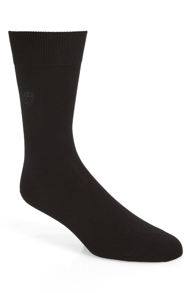 ALEXANDER MCQUEEN Tonal Skull Socks, Main, color, 001