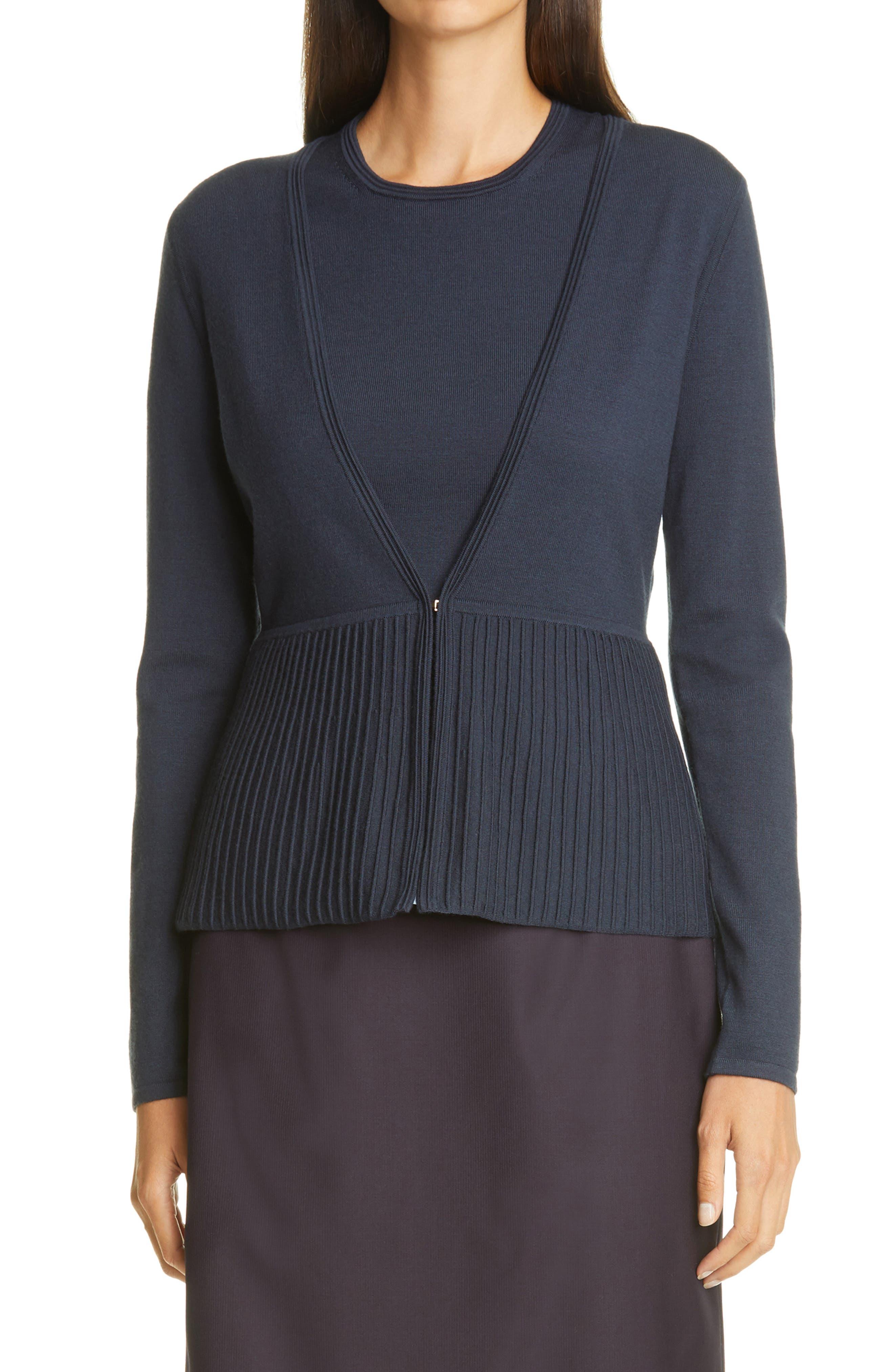 BOSS Faly Ribbed Peplum Wool Blend Cardigan | Nordstrom