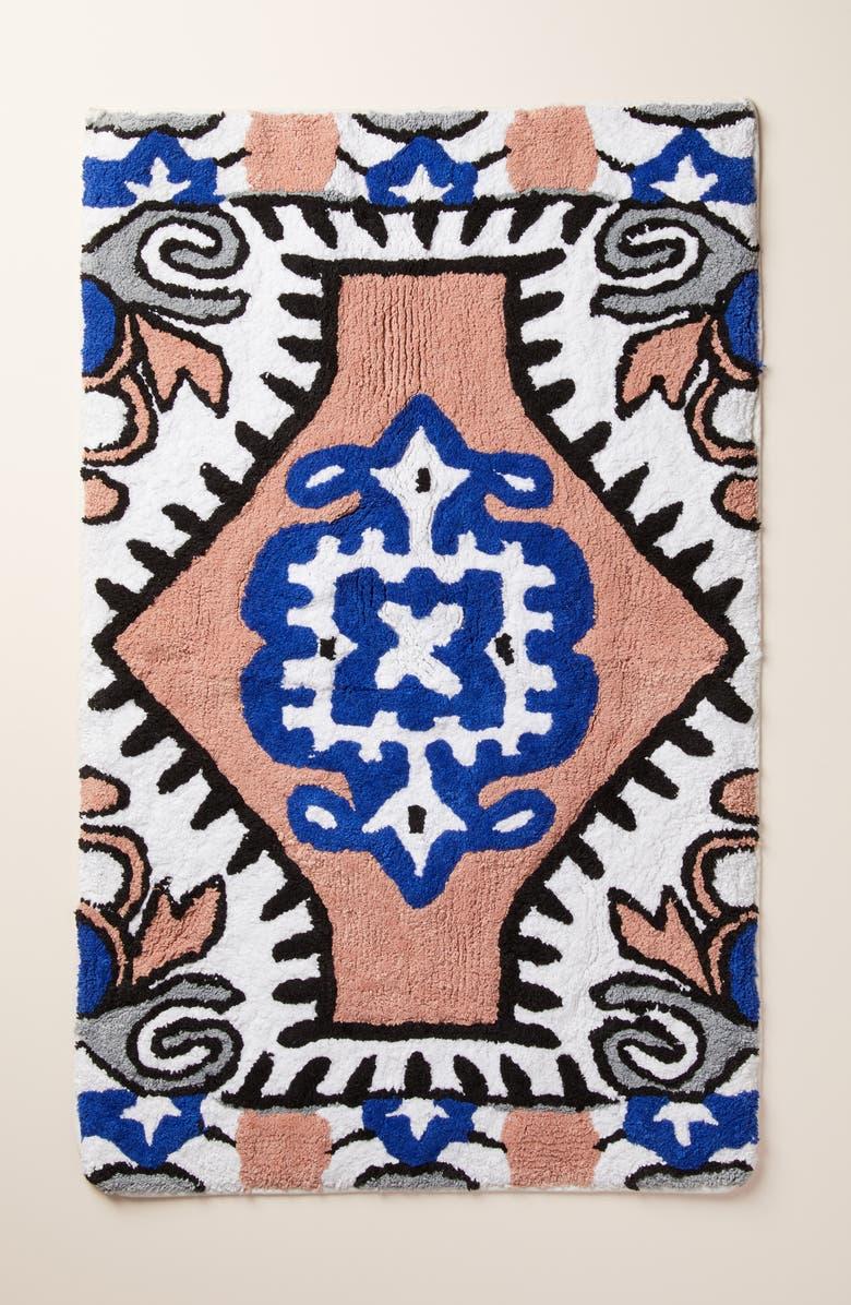 ANTHROPOLOGIE Fez Bath Mat, Main, color, BROWN