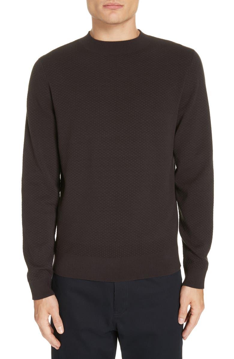 A.P.C. Diamond Matelassé Sweater, Main, color, 001