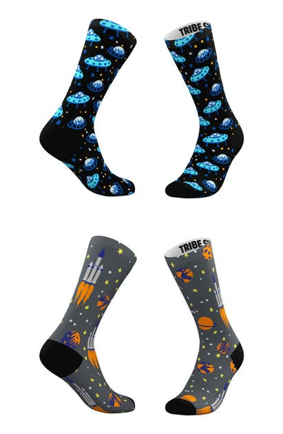 Tribe Socks ASSORTED 2-PACK ALIEN & ROCKET CREW SOCKS