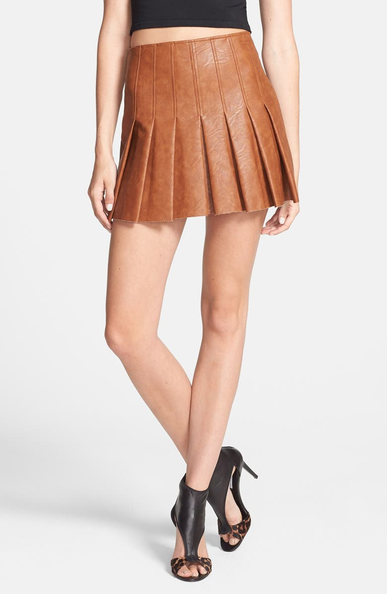 ASTR THE LABEL ASTR Faux Leather Pleat Front Skirt, Main, color, AMBER BROWN