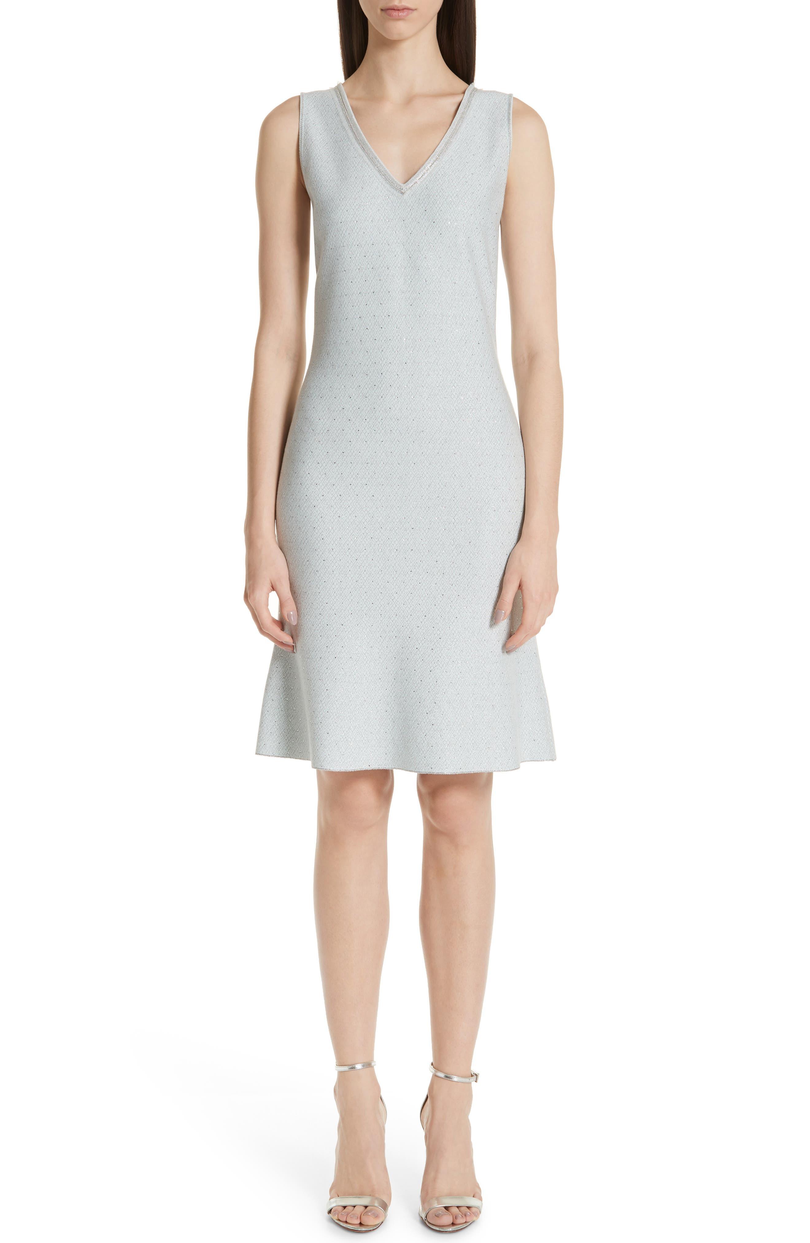 St. John Collection Anya Knit V-Neck Dress, Blue