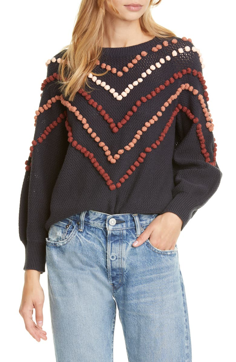 THE GREAT. The Bobble Sweater, Main, color, NAVY