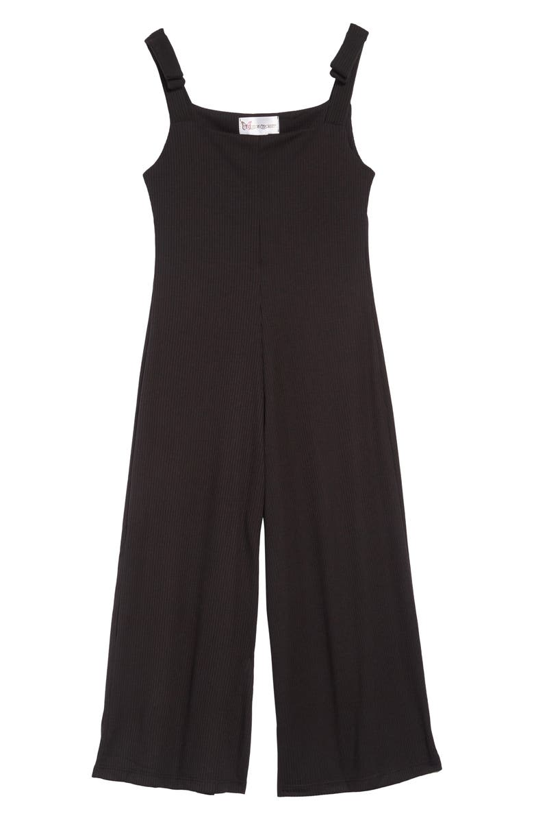 COTTON EMPORIUM Sleeveless Jumpsuit, Main, color, BLACK