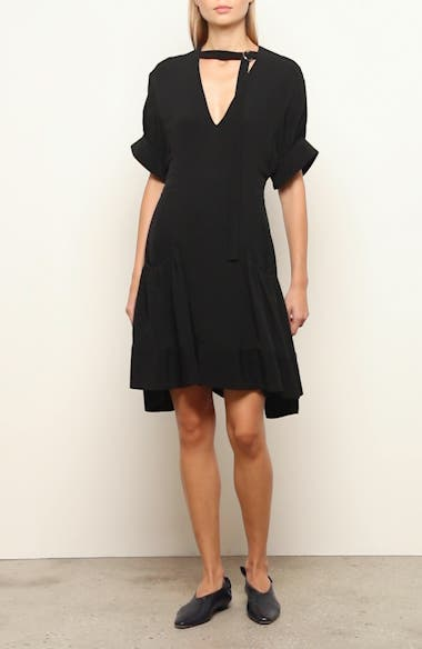 Buckle Strap Short Sleeve Crepe Dress, video thumbnail