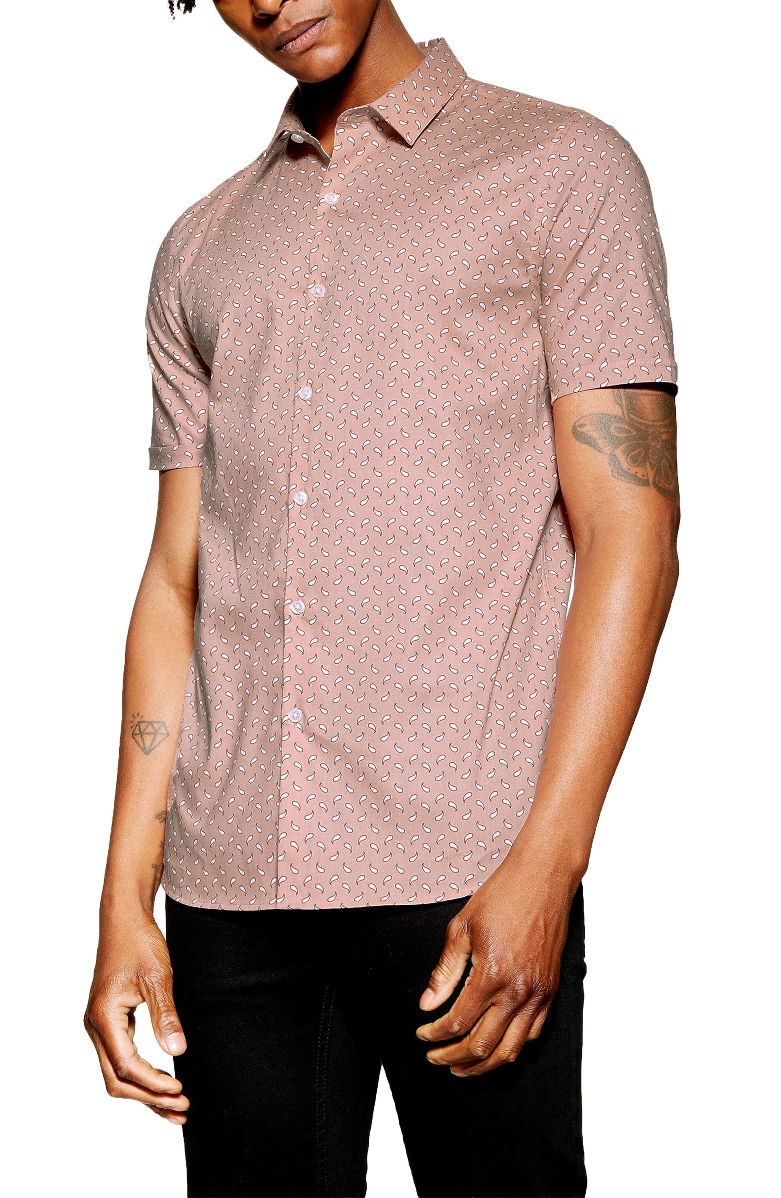 Stretch Skinny Fit Paisley Print Shirt, Main, color, PINK MULTI