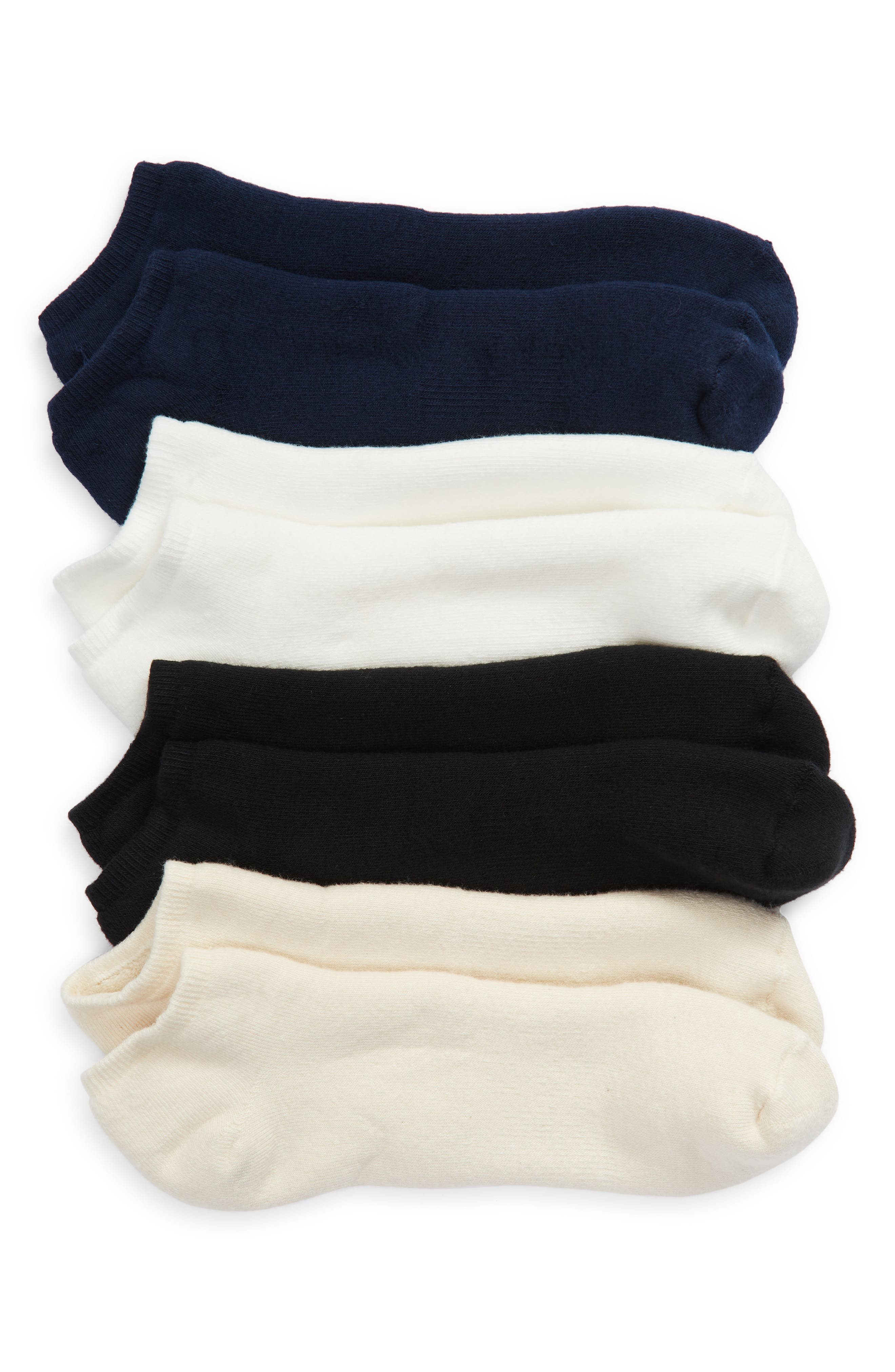 Assorted 4-Pack Organic Cotton Blend Ankle Footie Socks