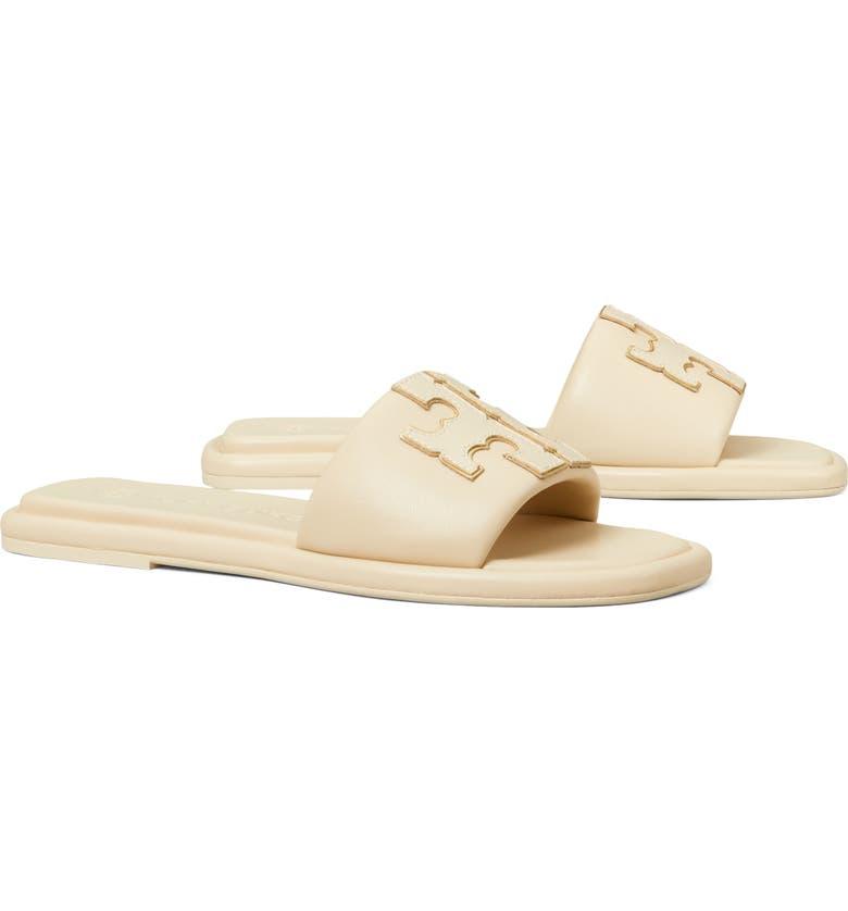 TORY BURCH Double T Sport Slide Sandal, Main, color, DULCE DE LECHE / GOLD