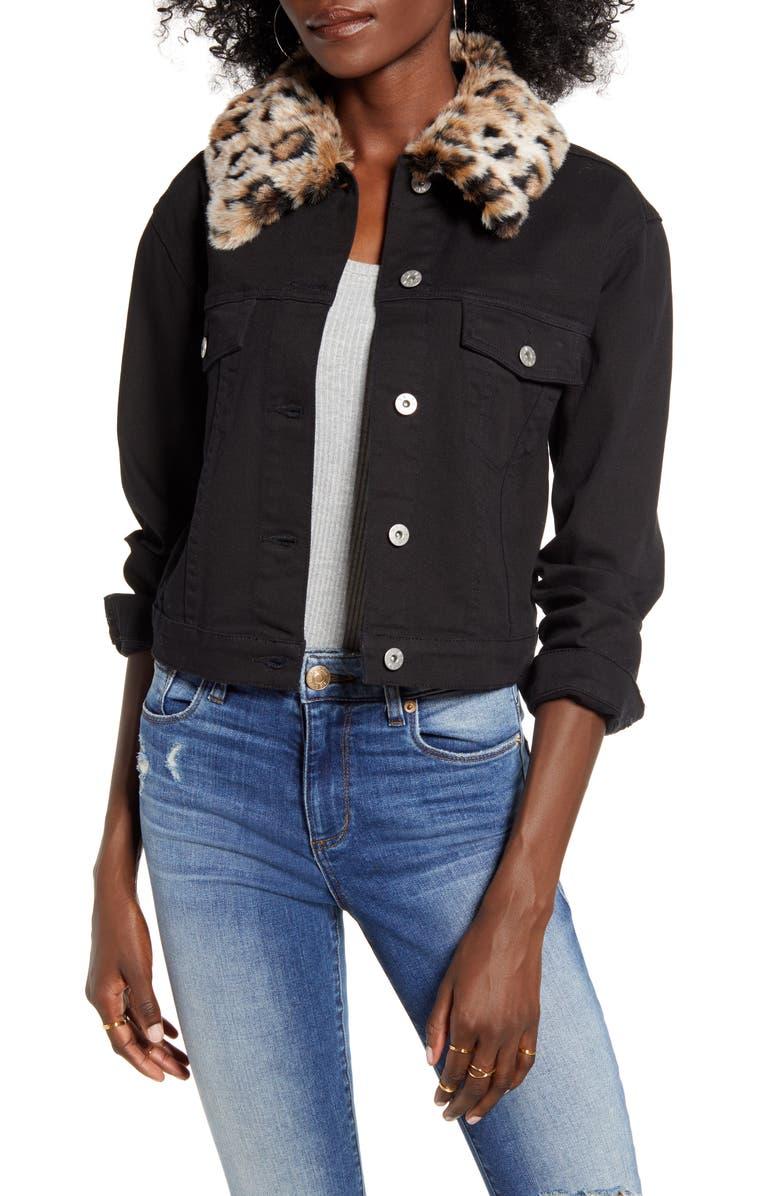 BB DAKOTA Can't Meow Denim Jacket with Removable Faux Fur Trim, Main, color, BLACK