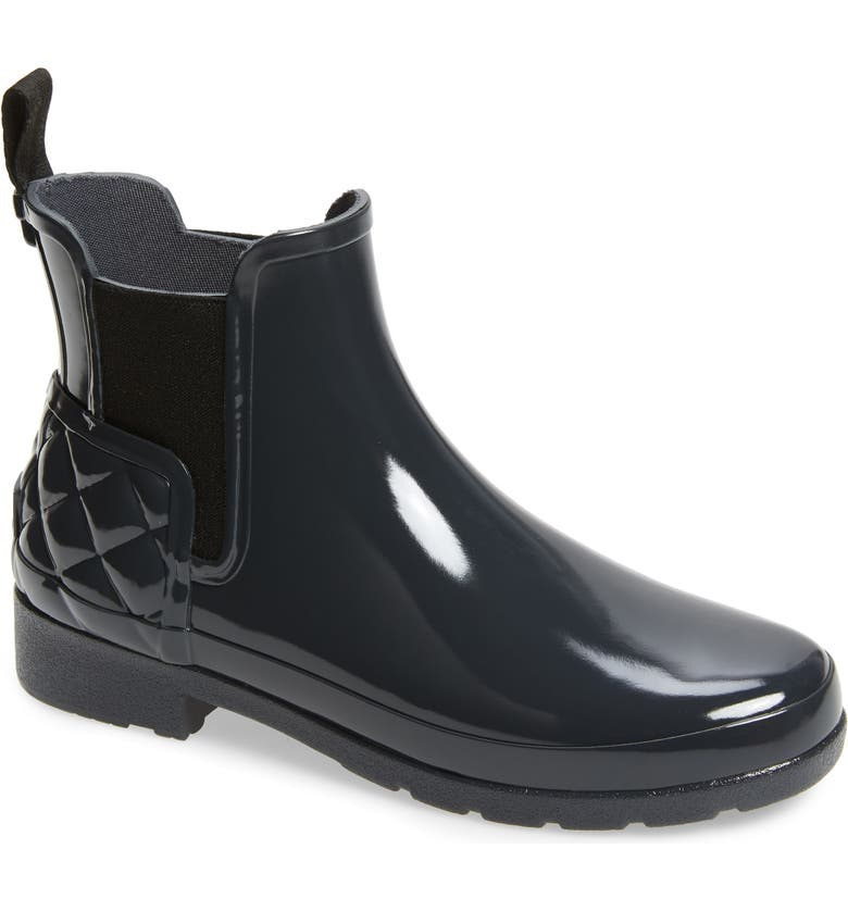 HUNTER Original Refined Quilted Gloss Chelsea Waterproof Boot, Main, color, DARK SLATE RUBBER