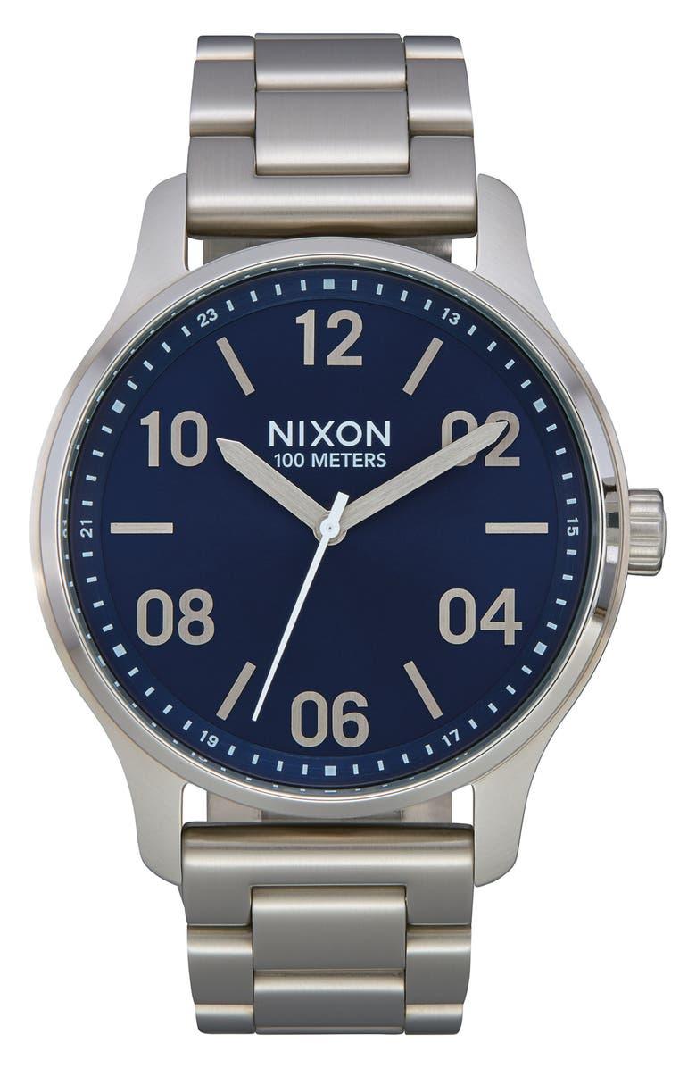 NIXON Patrol Bracelet Watch, 44mm, Main, color, SILVER/ NAVY/ SILVER