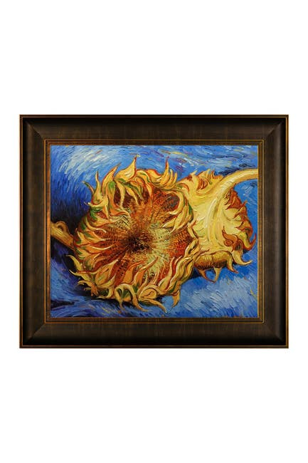 Image of Overstock Art Two Cut Sunflowers by Vincent Van Gogh Framed Hand Painted Oil Reproduction