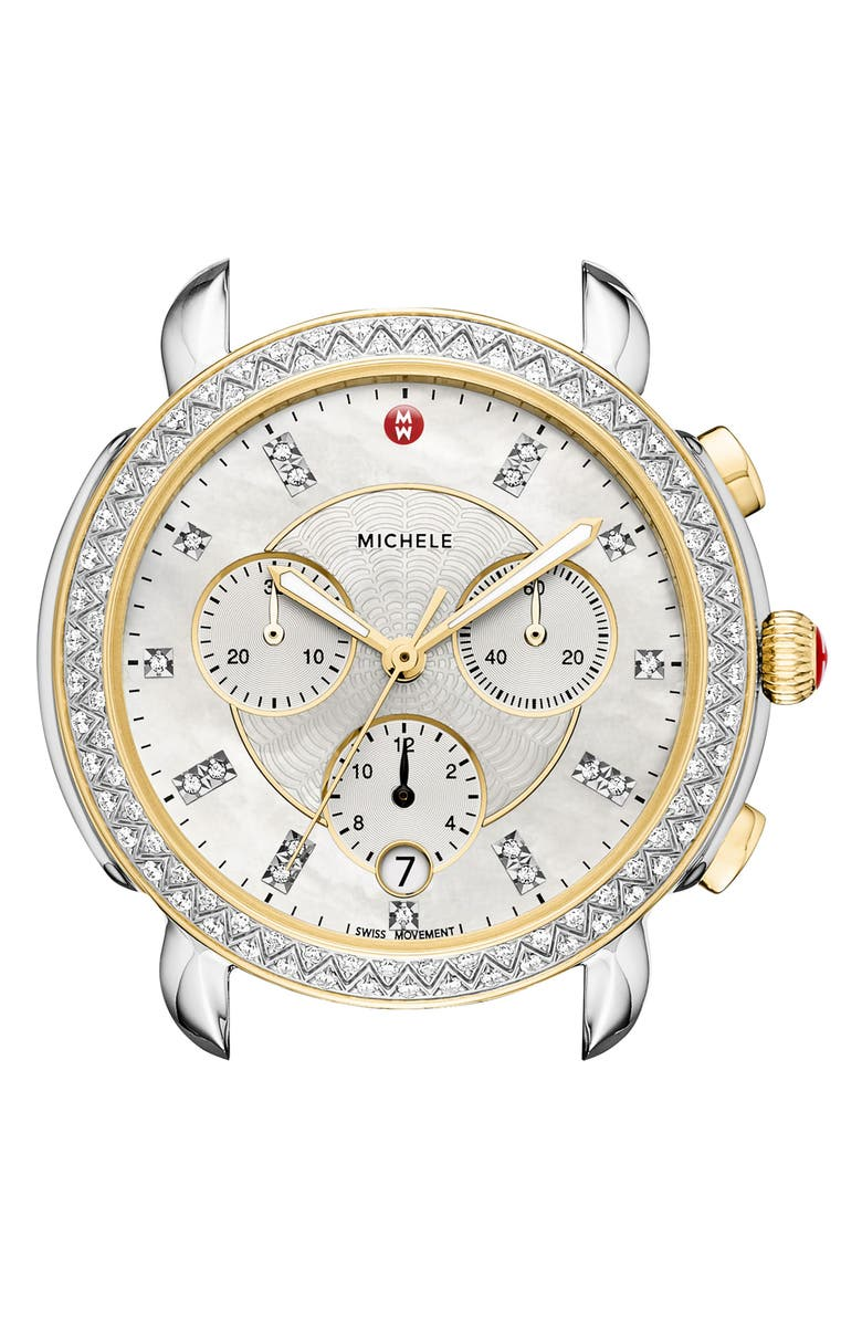 MICHELE Sidney Chrono Diamond Dial Watch Case, 38mm, Main, color, SILVER/ MOP/ GOLD