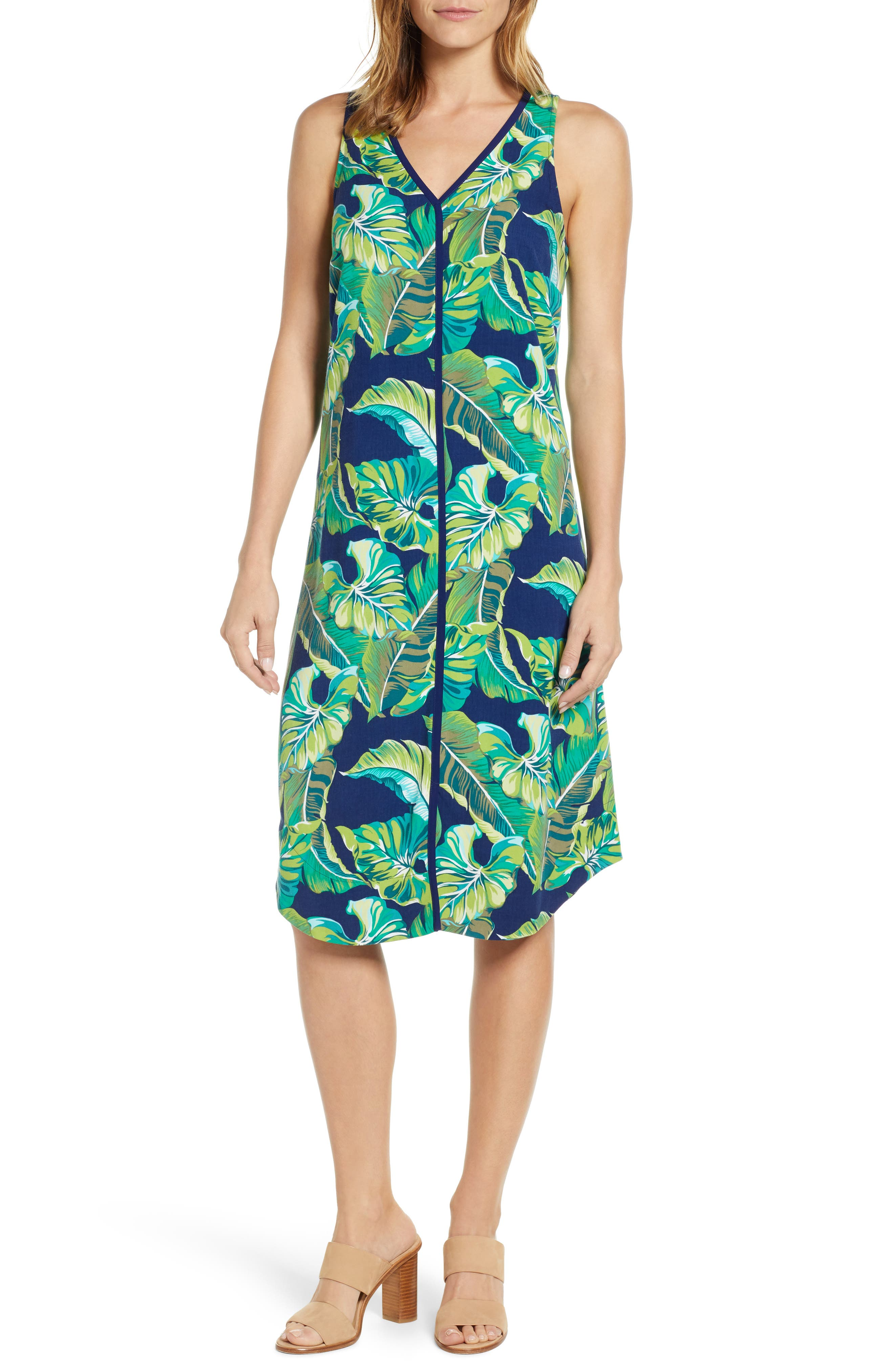 Tommy Bahama Lovely Leaves Midi Dress, Blue