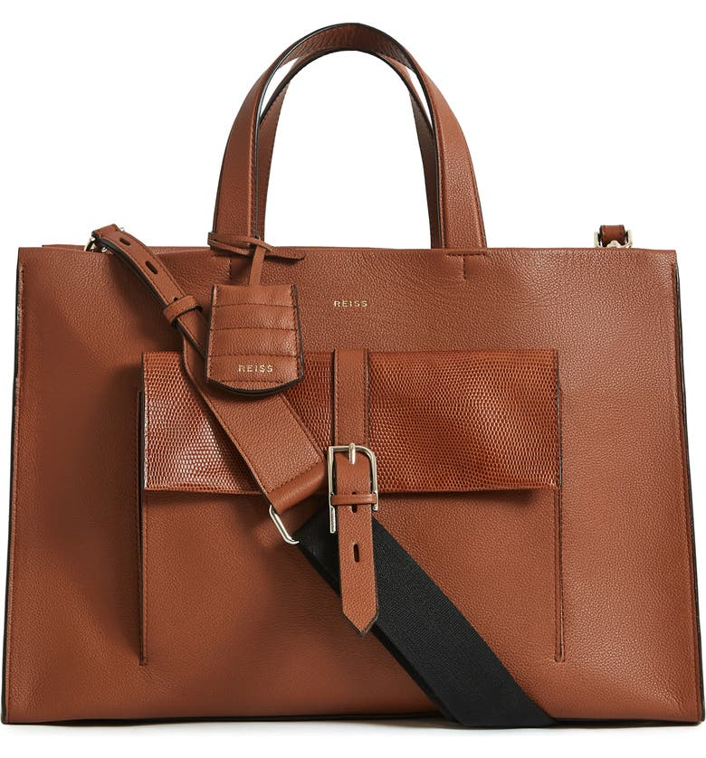 REISS Large Picton Leather Satchel, Main, color, DEEP HAZEL
