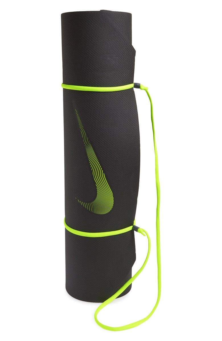 NIKE Training Mat, Main, color, BLACK/ VOLT