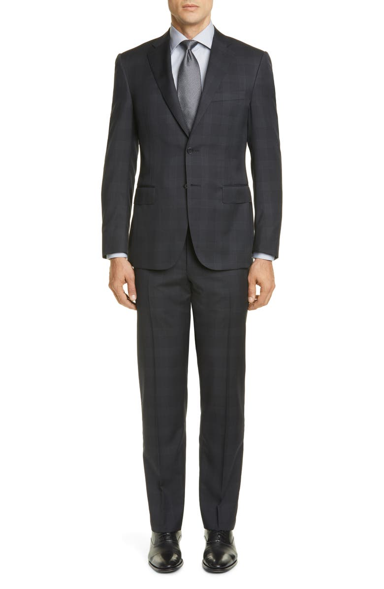 CANALI Sienna Soft Plaid Wool Suit, Main, color, CHARCOAL