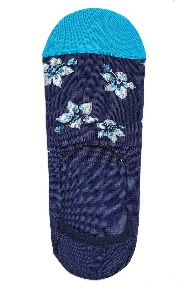 BUGATCHI Floral No-Show Socks, Main, color, 421