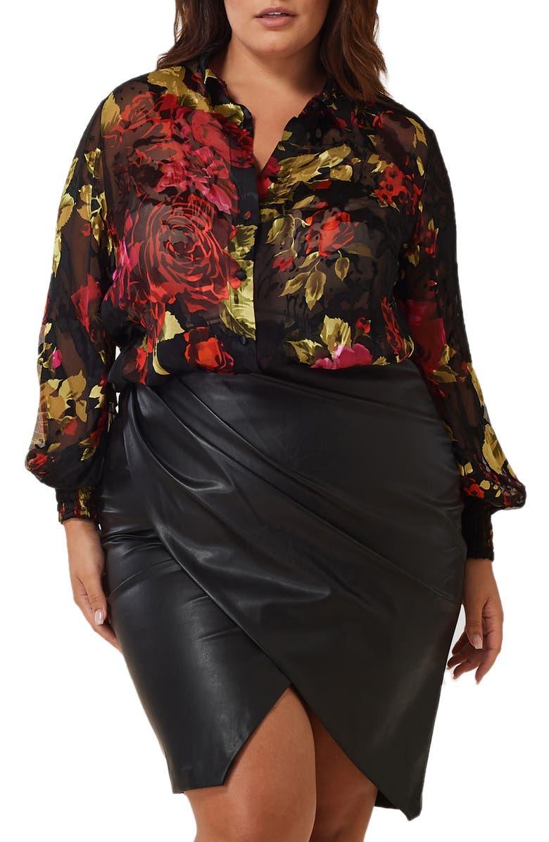 MARÉE POUR TOI Silk Charmeuse Burnout Blouse, Main, color, BLACK