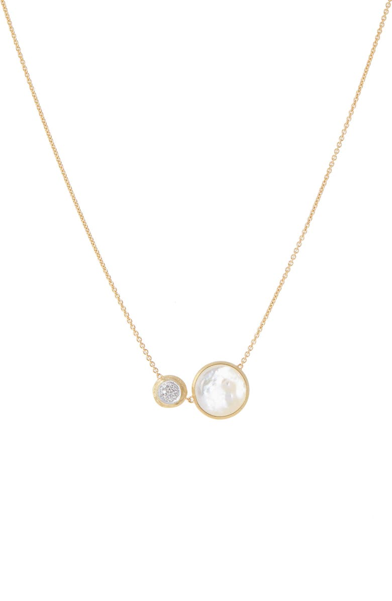 MARCO BICEGO Jaipur Turquoise & Diamond Pendant Necklace, Main, color, YELLOW GOLD/ MOTHER OF PEARL