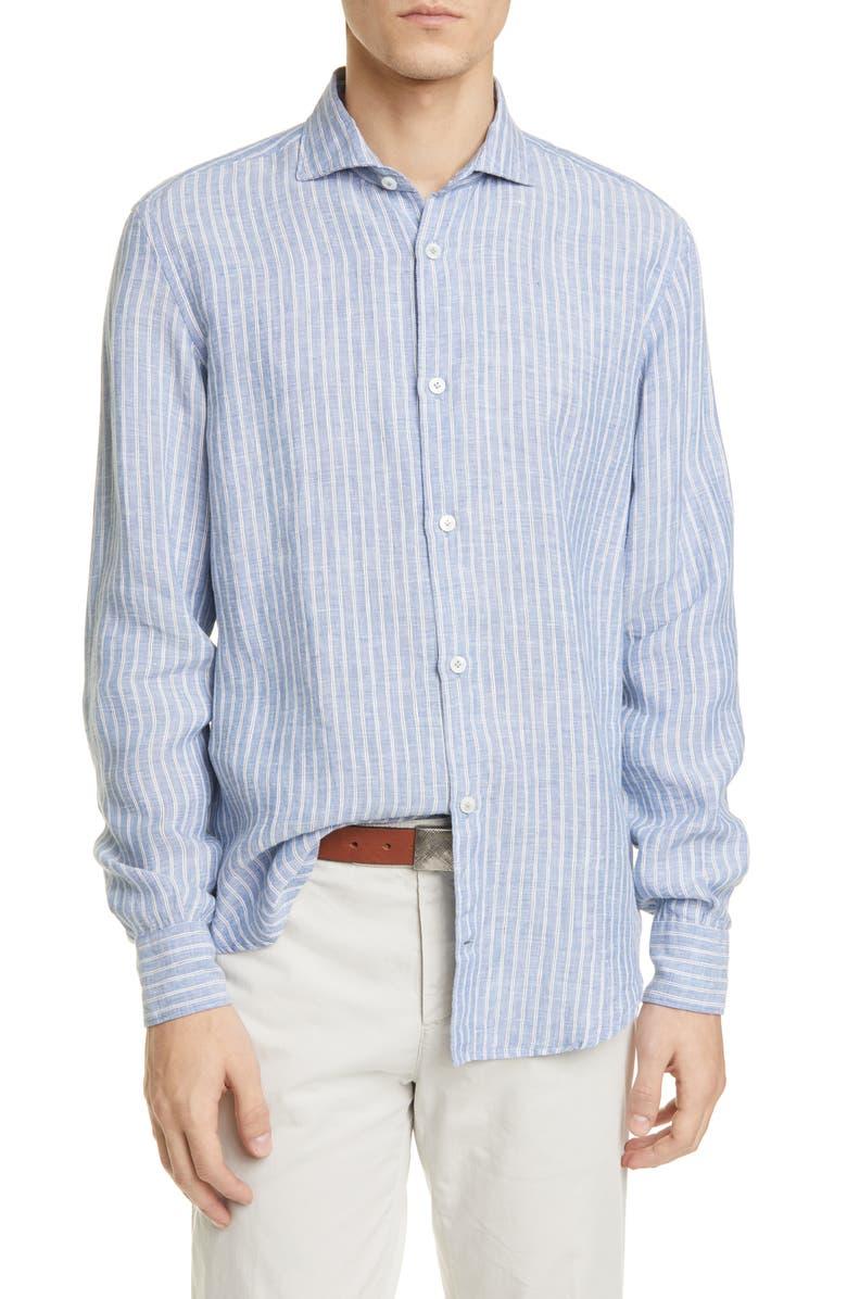 ELEVENTY Slim Fit Stripe Linen Button-Up Shirt, Main, color, 400