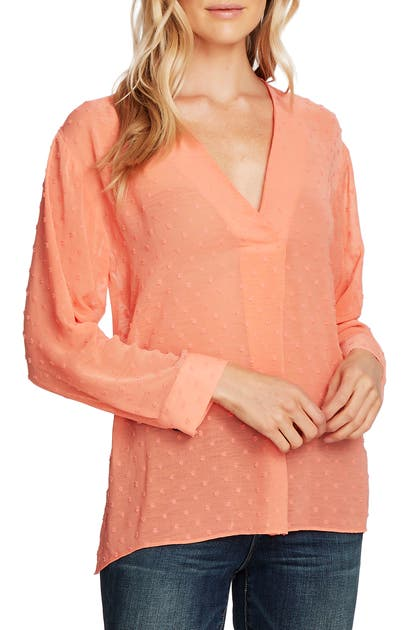 Vince Camuto Tops CLIP DOT LONG SLEEVE BLOUSE