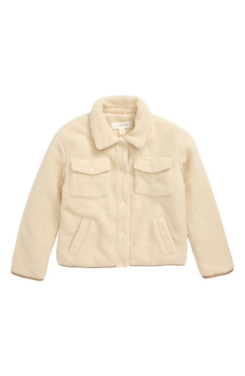 TREASURE & BOND Fleece Boyfriend Jacket, Main, color, TAN BLEACHED
