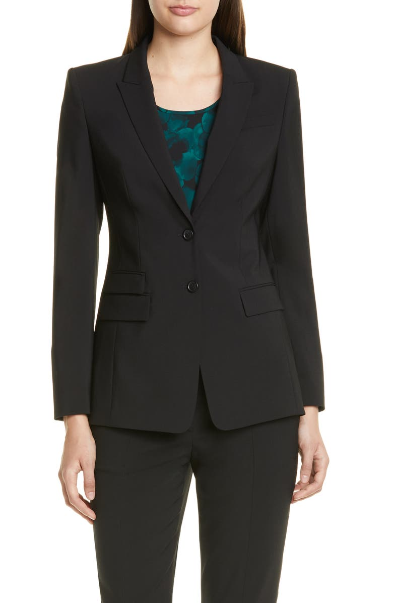 BOSS Juicylara Tropical Stretch Wool Suit Jacket, Main, color, BLACK