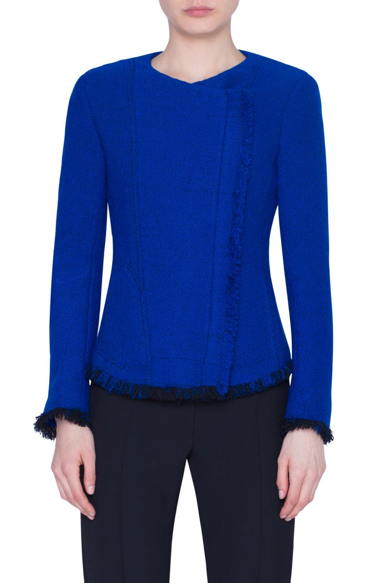 AKRIS PUNTO Fringe Trim Asymmetrical Zip Tweed Jacket, Main, color, ELECTRIC BLUE