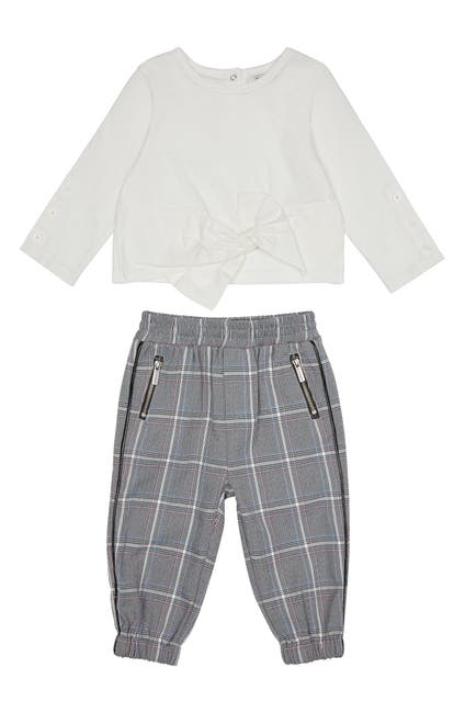 Image of Habitual Kids Everly Bow Top & Plaid Joggers Set