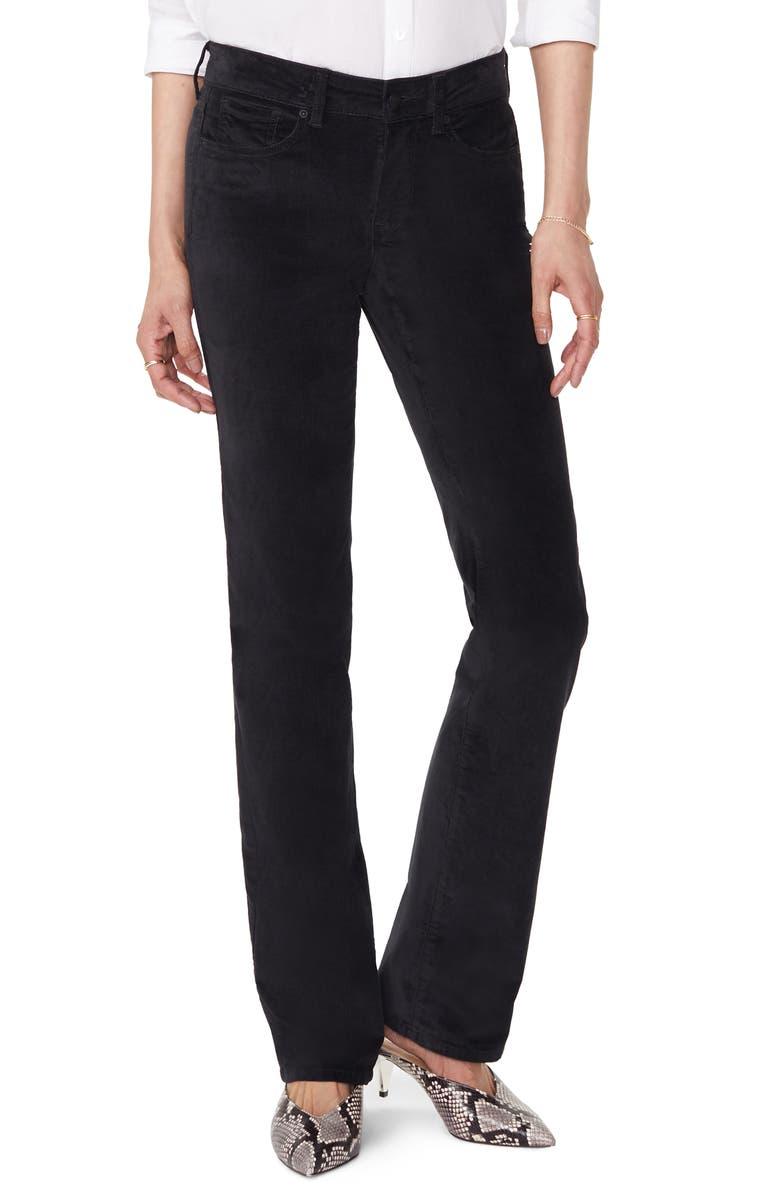 NYDJ Marilyn Straight Leg Velveteen Pants, Main, color, 001