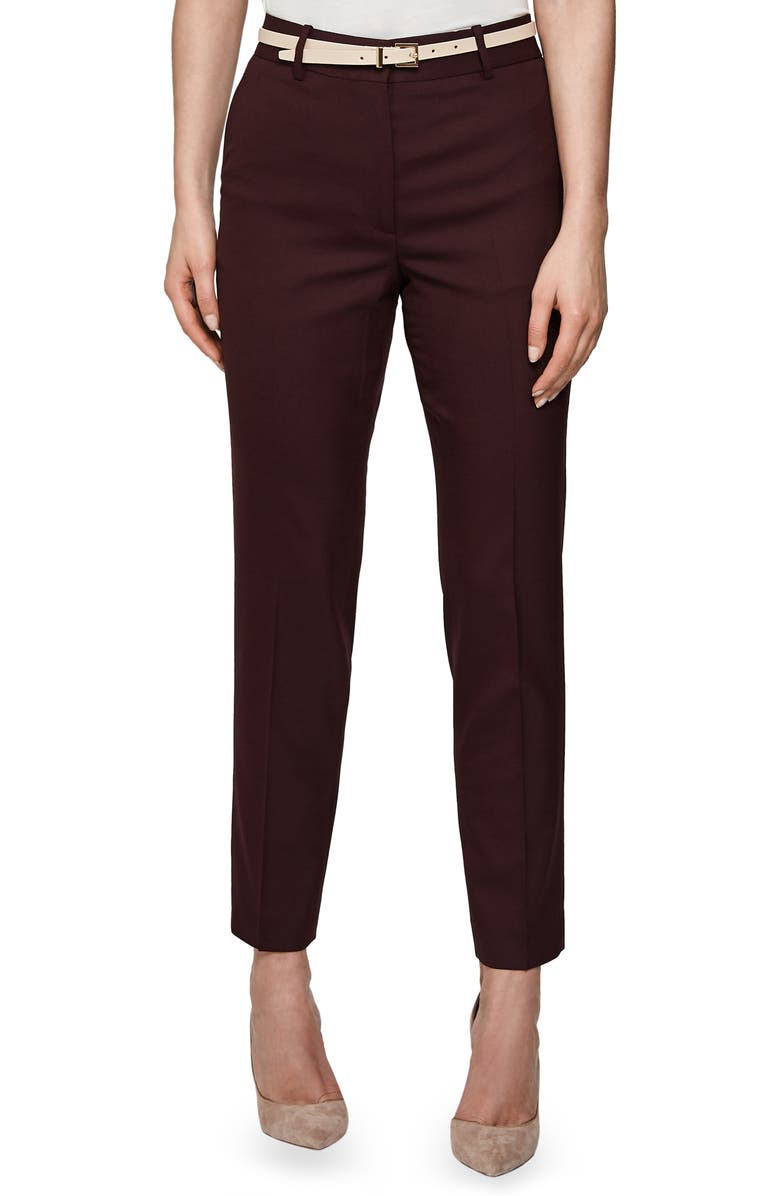 REISS Lissia Slim Textured Wool Blend Suit Trousers, Main, color, BERRY