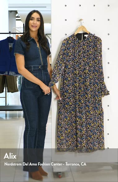 Floral Print Long Sleeve Midi Dress, sales video thumbnail