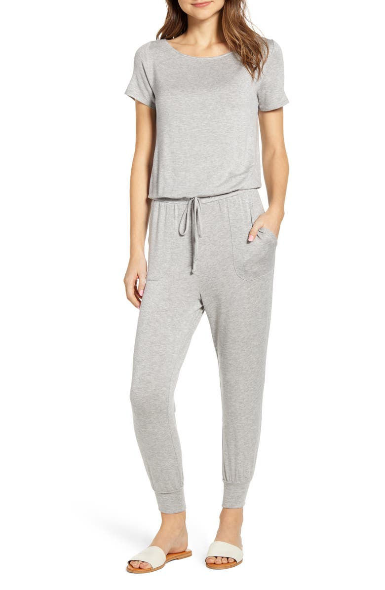 GIBSON x International Women's Day Nasreen Off the Shoulder Knit Jumpsuit, Main, color, HEATHER GREY
