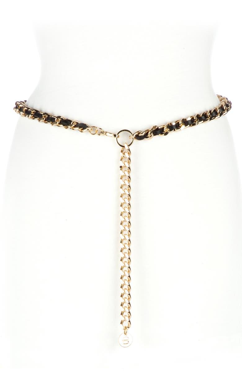 BRAVE LEATHER Doone Woven Chain Belt, Main, color, BLACK GOLD