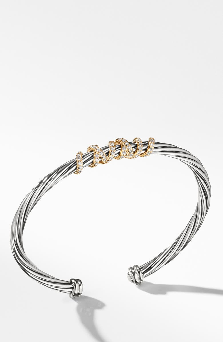 DAVID YURMAN Helena Center Station Bracelet with Diamonds and 18K Gold, 4mm, Main, color, SILVER/ GOLD