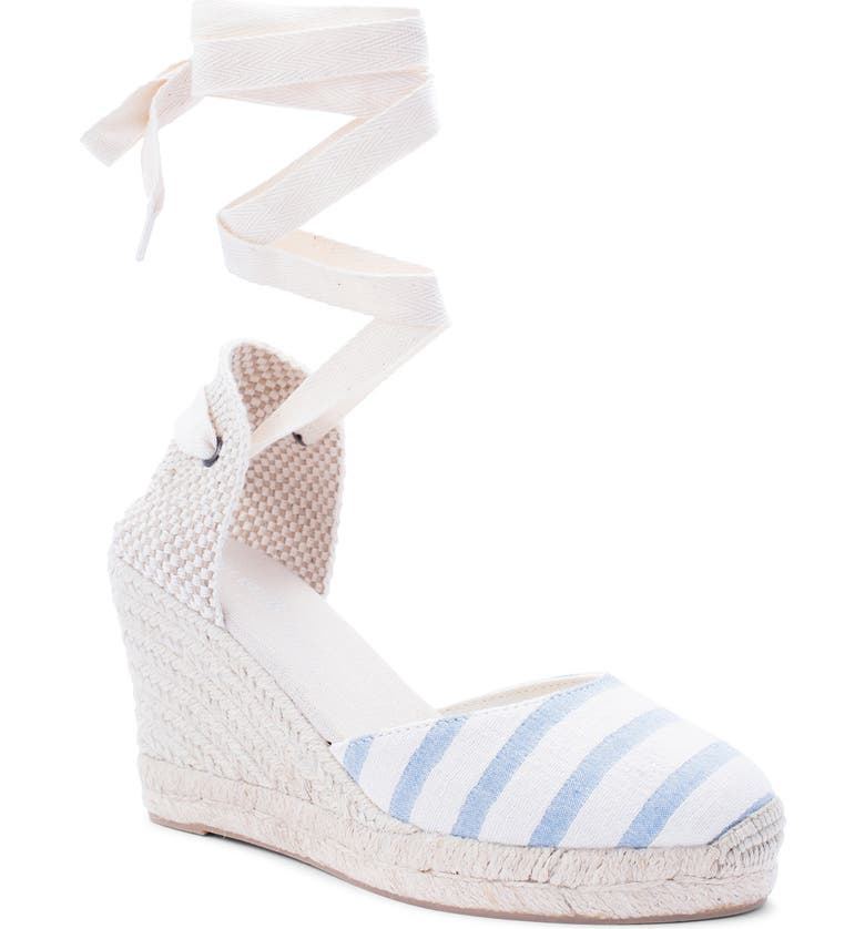 SOLUDOS Wedge Lace-Up Espadrille Sandal, Main, color, WHITE/ BLUE