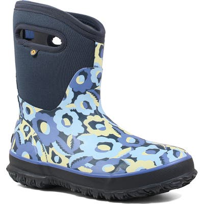 Bogs Classic Mid Flower Bites Insulated Waterproof Rain Boot, Blue