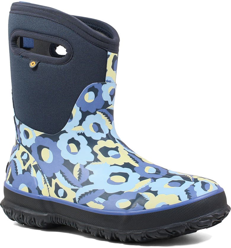 BOGS Classic Mid Flower Bites Insulated Waterproof Rain Boot, Main, color, NAVY MULTICOLOR