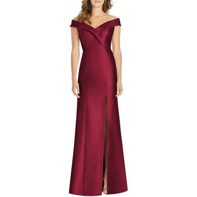 Alfred Sung Portrait Collar Satin Gown, Burgundy