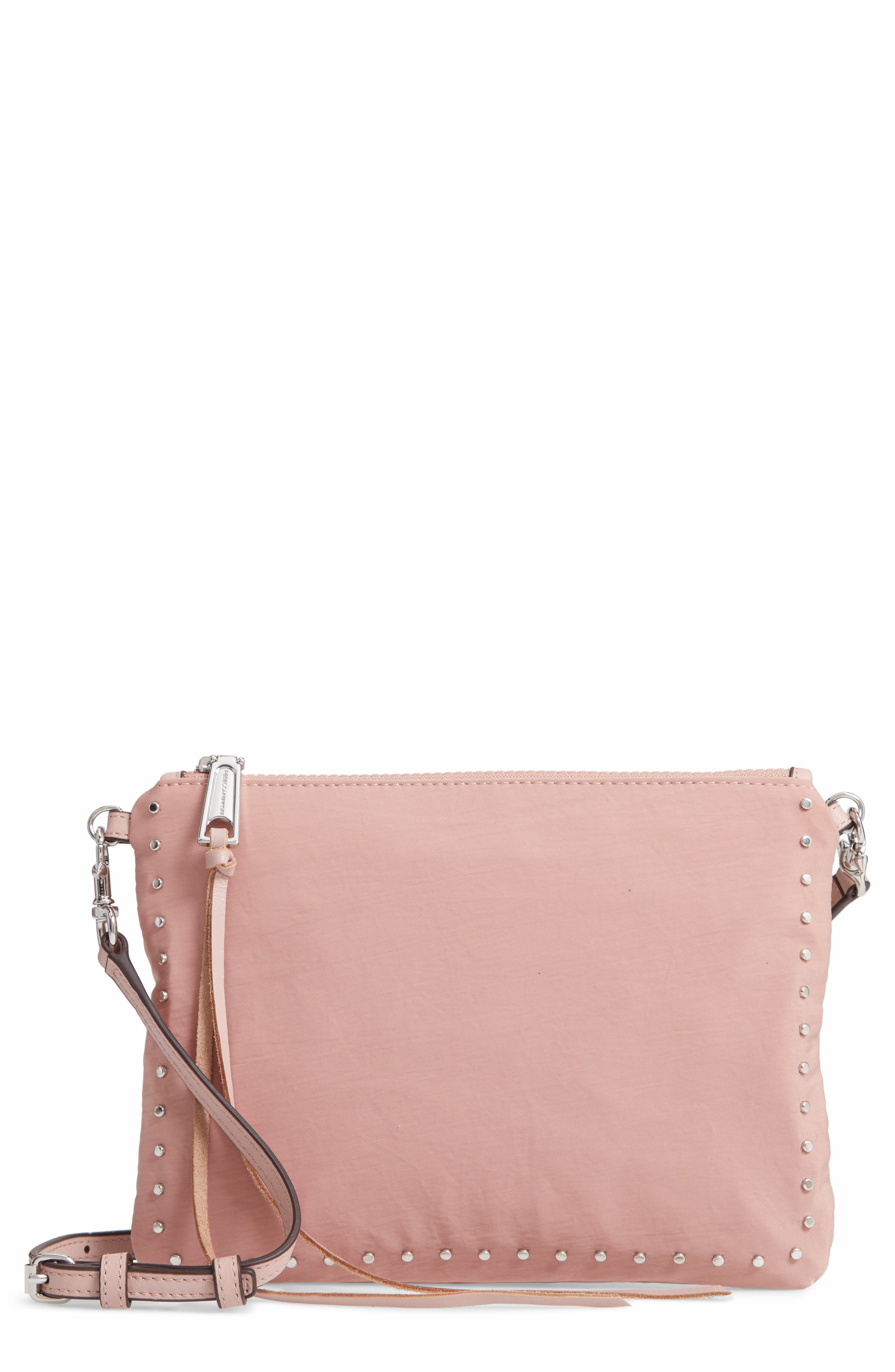 Jon Studded Nylon Crossbody Bag, Main, color, VINTAGE PINK