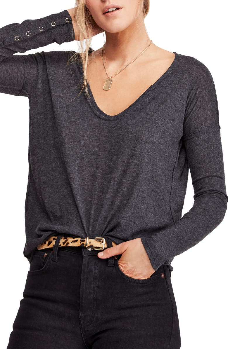 FREE PEOPLE Sienna Snap Cuff Cotton Blend Tee, Main, color, BLACK