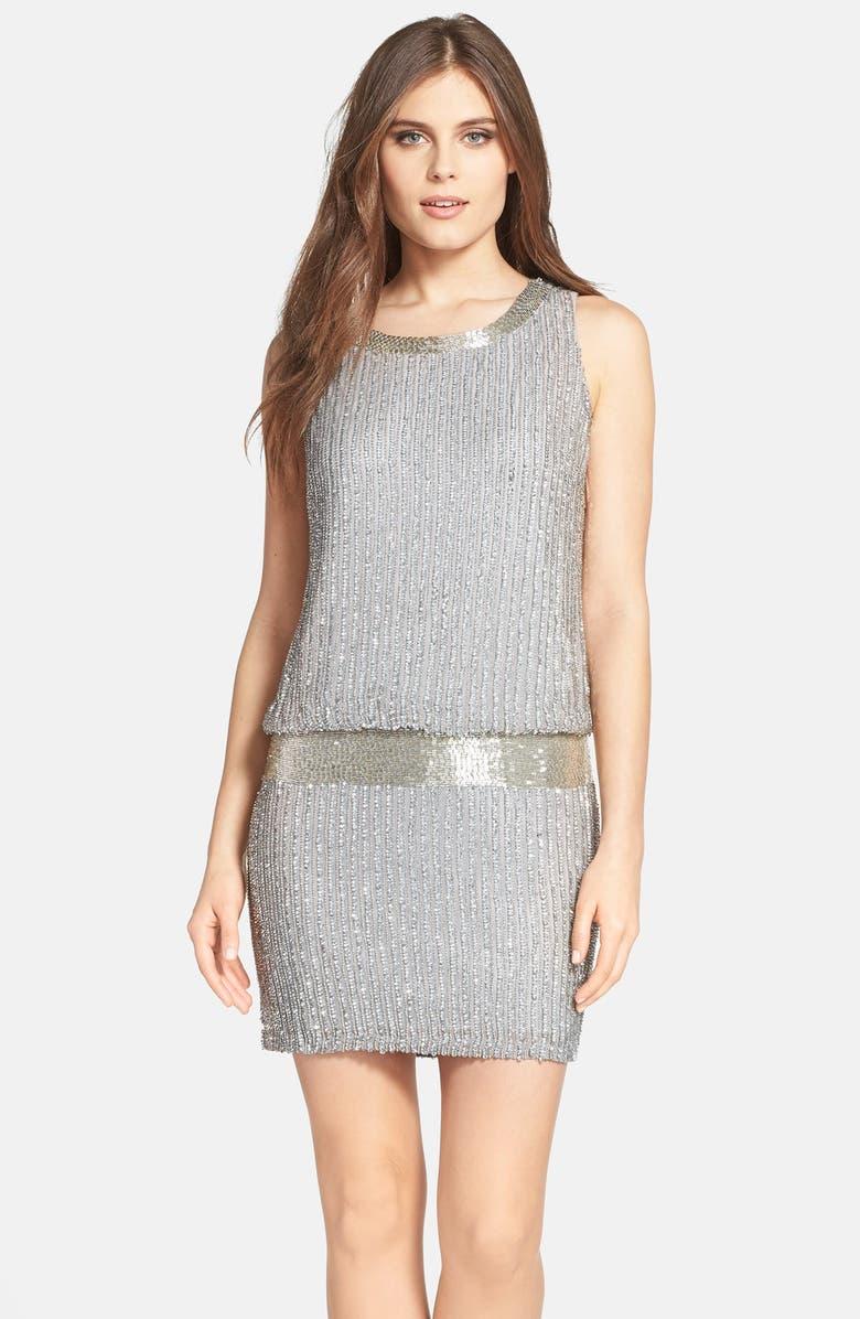 ADRIANNA PAPELL Drop Waist Beaded Silk Tank Dress, Main, color, 020
