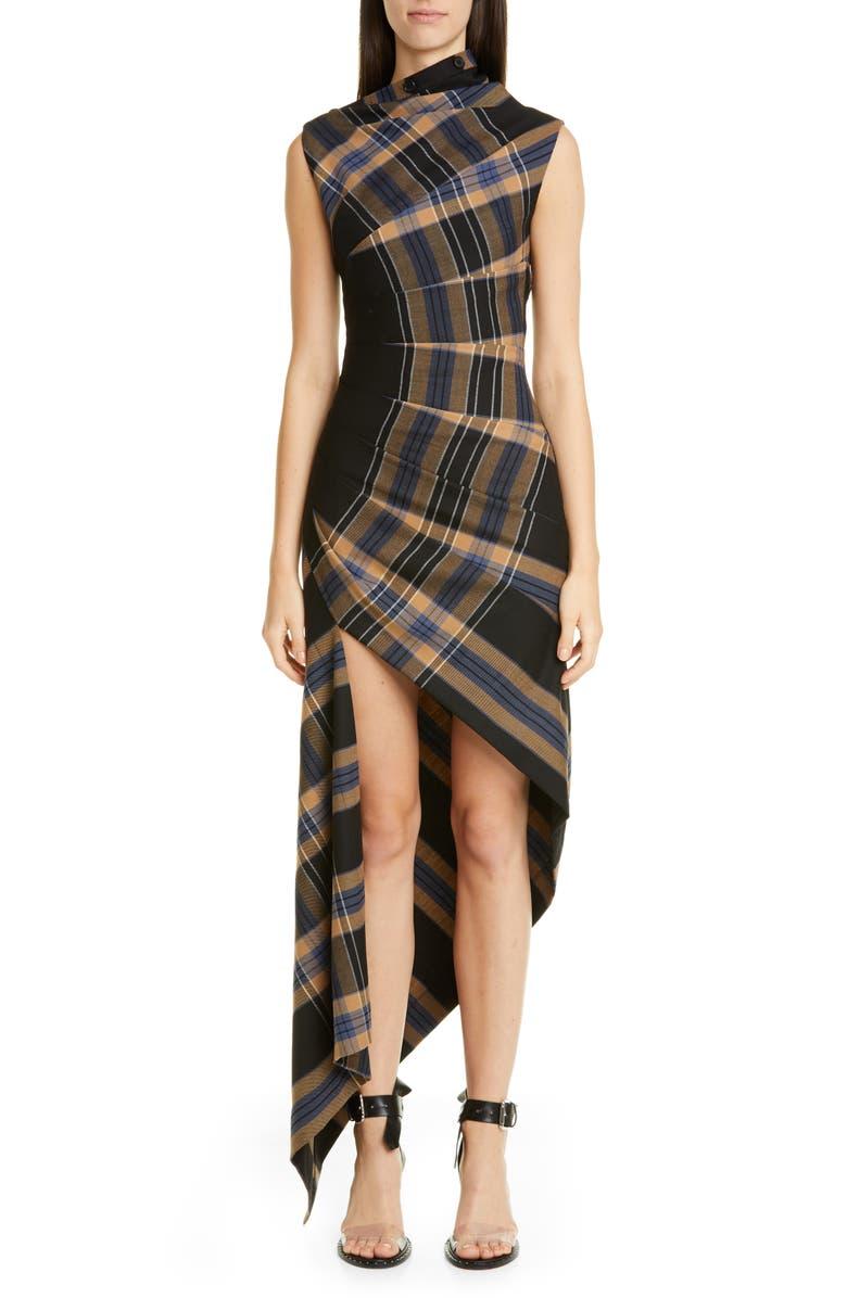 MONSE Asymmetrical Pleated Plaid Midi Dress, Main, color, PLAID MULTI